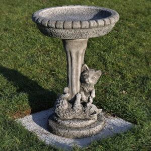 handcast stoneware cat bird bath