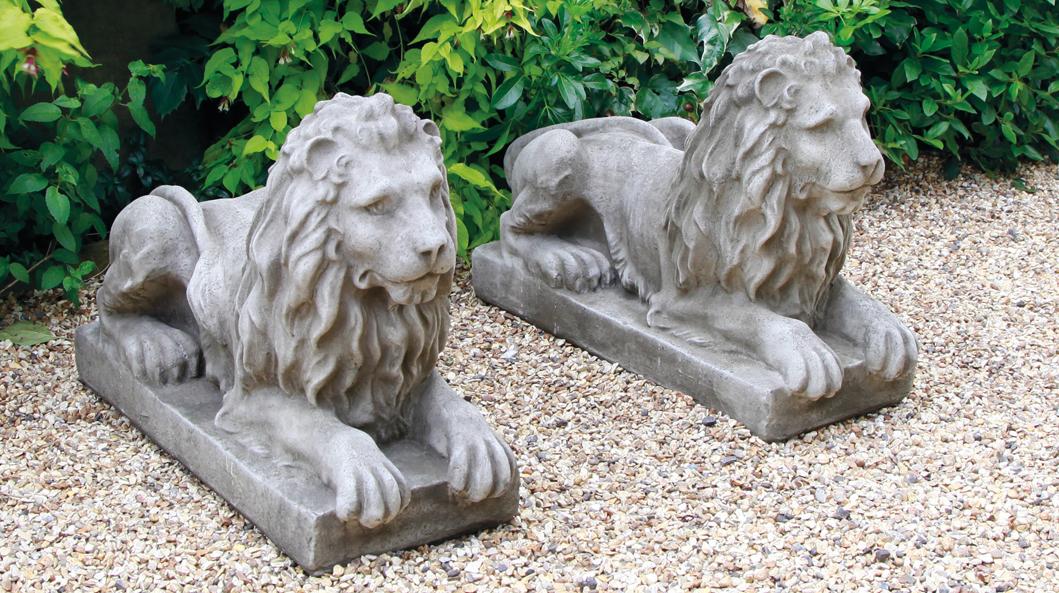 stoneware garden lions