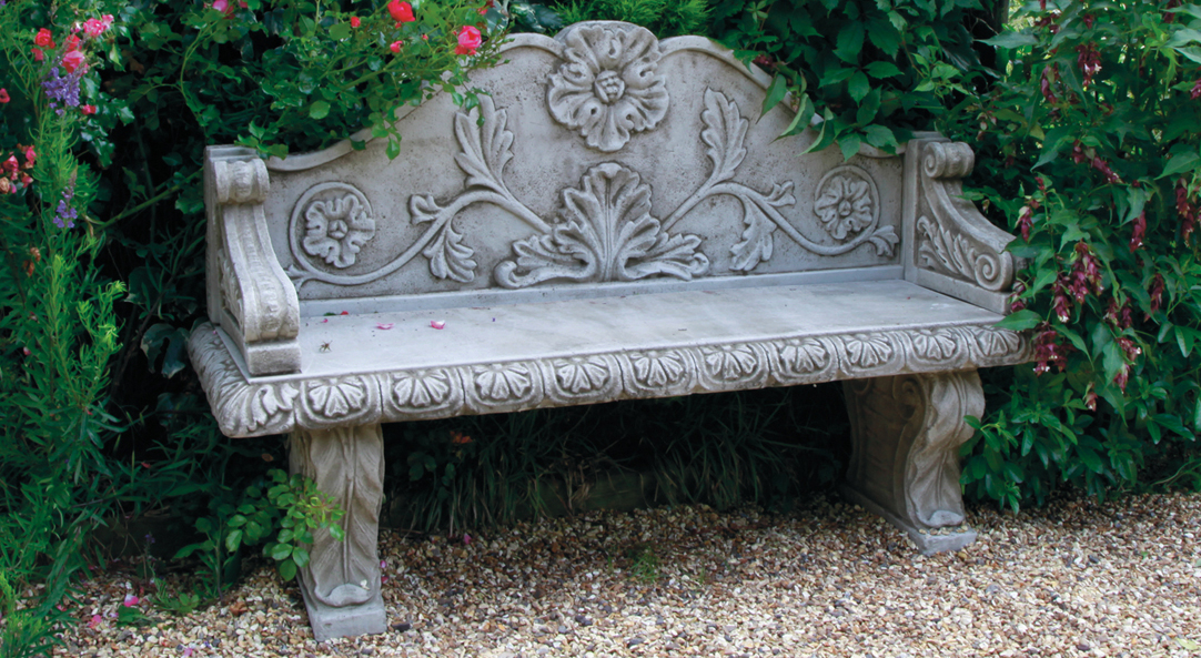 cast stoneware bench