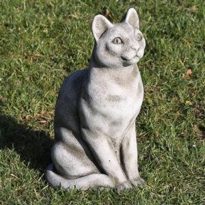 sitting cat stone garden ornament