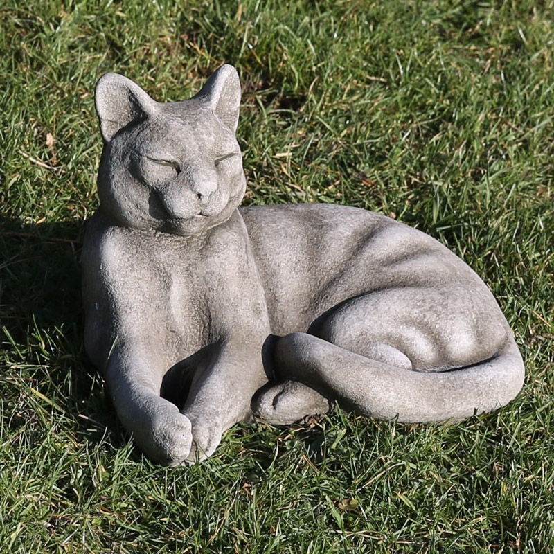 reconstituted limestone lounging cat garden ornament