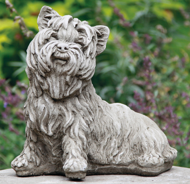 handcrafted stoneware dog statues