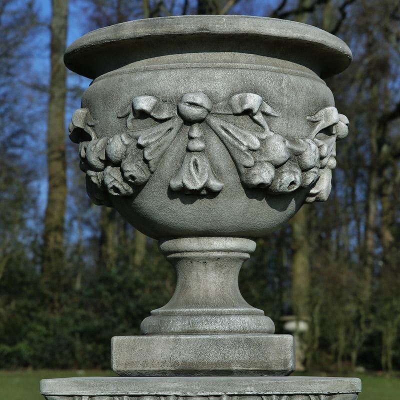 Swag garland stoneware garden planter or urn
