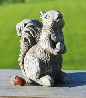 hand cast limestone squirrel