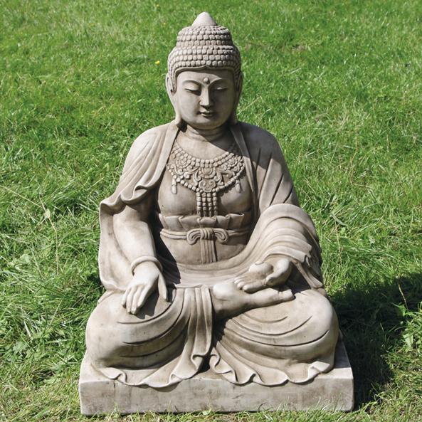 ornamental limestone garden buddha