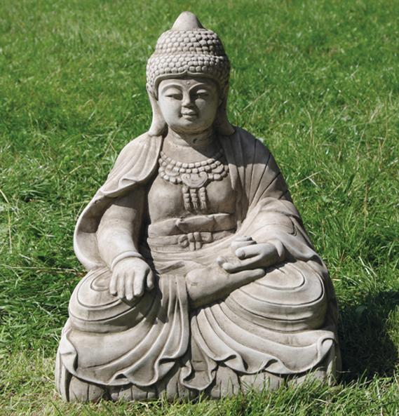 ornamental stoneware garden buddha