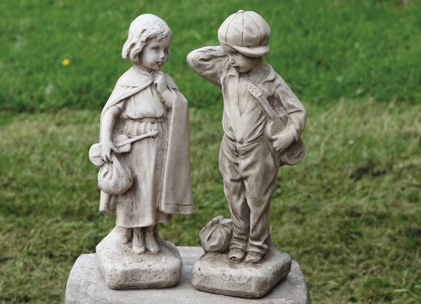 stoneware child statue