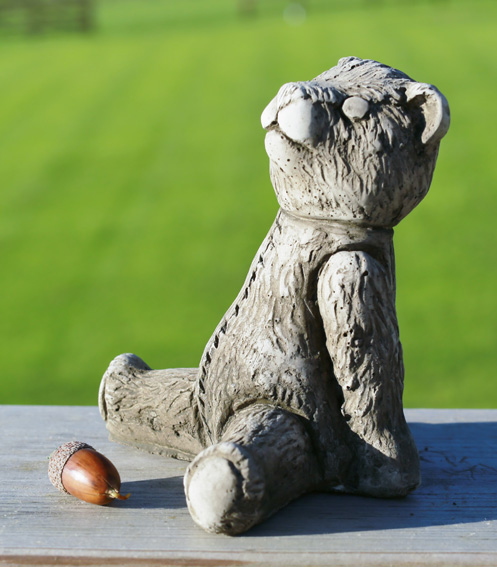 Miniature father teddy bear garden ornament made from hardwearing reconstituted stone