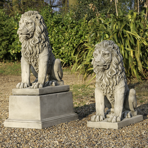 classical lions made from hardwearing reconstituted stone