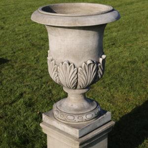 Elegant garden urn made from hand cast reconstituted stone