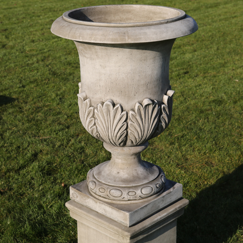 Elegant garden urn made from hand cast reconstituted stone