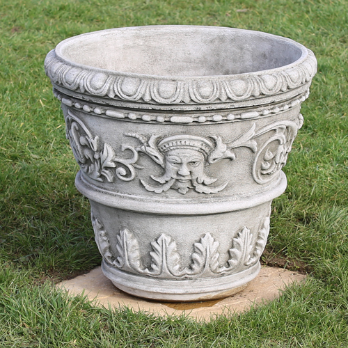 Classical pot made from hardwearing reconstituted limestone