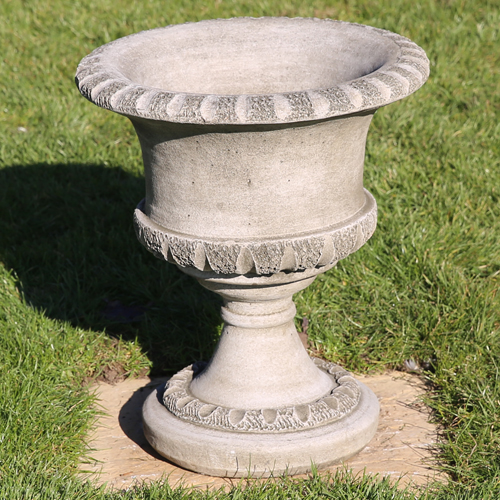 Graceful garden urn made from hardwearing reconstituted stone