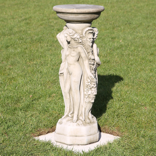 Decorative 3 graces sundial made from hardwearing reconstituted stone